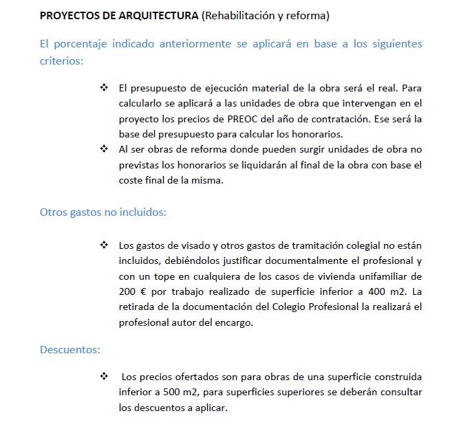 Preoc for Honorarios arquitecto vivienda unifamiliar